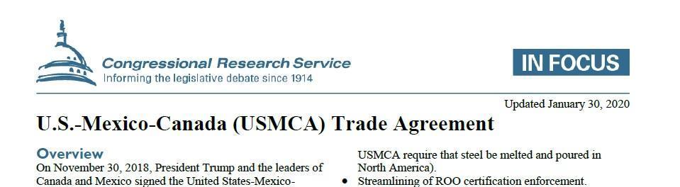 USMCA - REPLACED NAFTA
